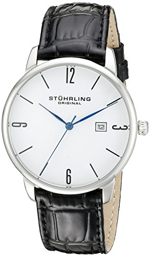 Stuhrling Original Men's 997L.01 Ascot Stainless Steel Date Watch With Black Leather Band (Original Blue And Black Dress compare prices)