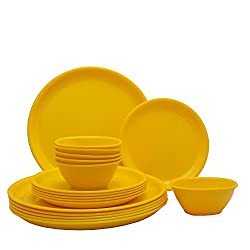 Incrizma Plastic Round Plate and Bowl Set, 18-Pieces, Yellow