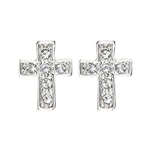 Magic Collection 18k Yellow/White Gold Plated Cubic Zirconia Cross Design Stud Earrings (18k White Gold Plated)