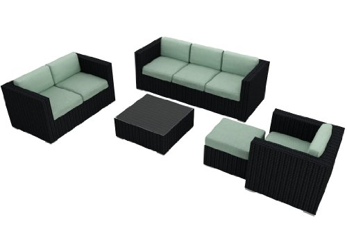 Harmonia Living Urbana 5 Piece Modern Outdoor Sofa Set with Turquoise Sunbrella Cushions (SKU HL-URBN-5SS-SP) picture