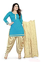 Women's Salwar Suit Dress Material of high quality (Sky Blue Color_Free Size)