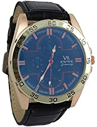 Addic EWWE Dark Blue Color Dial With Gold Cream Circular Bezel And Black Leather Strap Watch For Men (59)