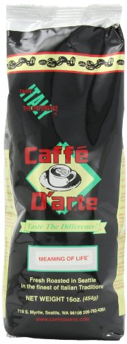 Caffe D'arte Gourmet Meaning of Life Ground Coffee, 16-Ounce Foil Bags (Pack of 2)