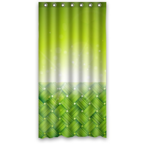 "Special Design Green Braided Fabric With Green Sun Raise Shower Curtain 36""x72"" (Small) New Waterproof Polyester Fabric Curtain (Shower Rings Included)"