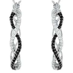 IceCarats Designer Jewelry Sterling Silver Black Spinel And Diamond Hoop Earrings. Pair/1/5 Ct Tw