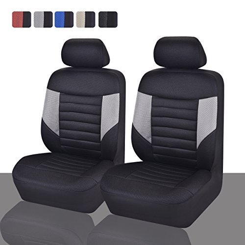 CAR PASS Skyline Sport Sky Black and Gray PU Leather Car Seat Covers, 6 Pieces (Front Leather Seat Covers compare prices)