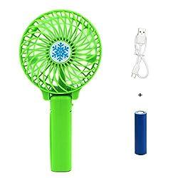 Rechargeable Fans Handheld Mini Fan Battery Operated Electric Personal Fans with Foldable Fans Hand Bar Desktop Fan Hand Fans Green Green