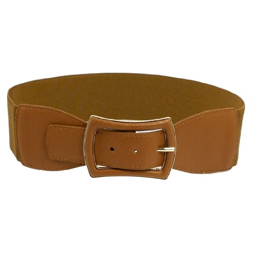 Lady Metal Single Pin Buckle Stretchy Cinch Band Waist Belt Brown
