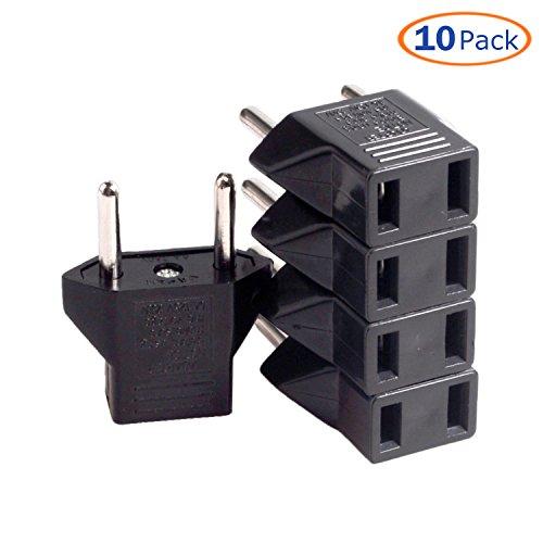 Conwork 10-Pack US USA to EU Euro Europe Power Jack Wall Plug Converter Travel Adapter (Us Eu Plug Adapter compare prices)