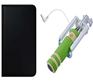 Novo Style Vivo Y51L Premium PU Leather Quality Black Flip Cover+ Wired Selfie Stick No Battery Charging Premium Sturdy Design Best Pocket SizedSelfie Stick