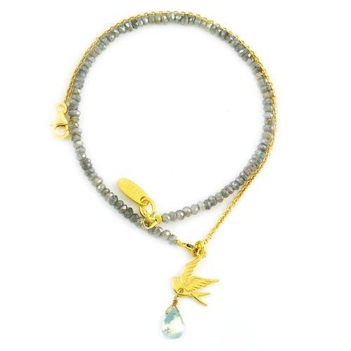 Assya Gold Vermeil Dove and Stone Charm Bracelet with Labradorite of Length 34.5cm