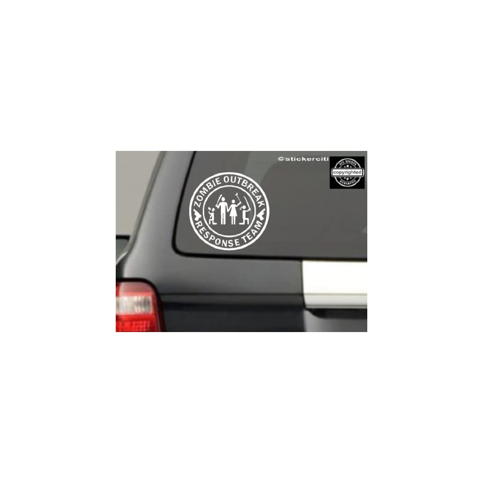 Stick Figure Family Decal Zombie Outbreak Response Team Zombies Vinyl Decal (FREE Zombie Hunter Permit Decal)