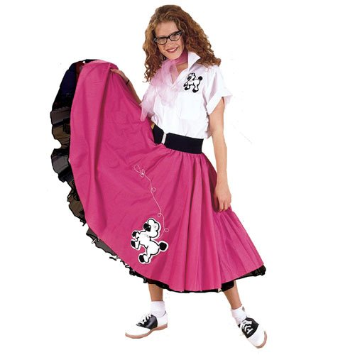 Cruisin USA 19845 Complete Poodle Skirt Outfit Plus Pink & White Adult Costume Size 2X-3X