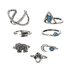 Habors Non-Precious Metal Silver 7 Pieces Midi Ring Set For Women