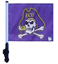 East Carolina Pirates Flag ECU with SSP Flags Pole and Ez On & Off Bracket / Golf Cart Flag