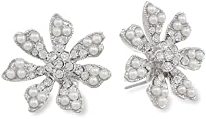 Nina 'Timber' Pearl and Crystal Flower Stud Earrings