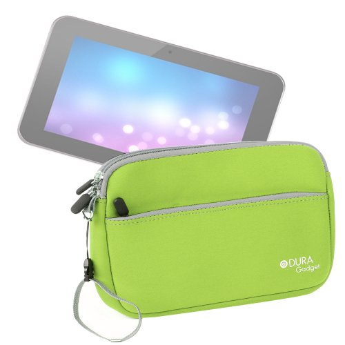 "Duragadget Lime Green Zipped Case With Soft Lining For Alba 7 Inch Portable Dvd Player - Pink / Alba Cce71Dvdduo 7"" Lcd 2 Movies At Once! Twin Dual Screen In Car Dvd Players / Argos Value Range 7 Inch Portable Dvd Player / Bush Bdvd 72708M / Bush Bdvd 797"