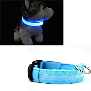 1Pc Culminate Popular LED Pet Collar Size S Flashing Light Cat Safety Necklace Color Blue