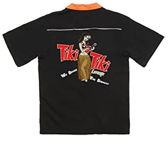 Tiki Tiki Lounge Bowling Shirt Black & Orange Swingmaster - 3XL