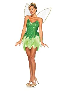 Leg Avenue Disney 5Pc.Pixie Dust Tink Sequin Dress Back Bow Straps Wings Pompom Clips, Green, Small