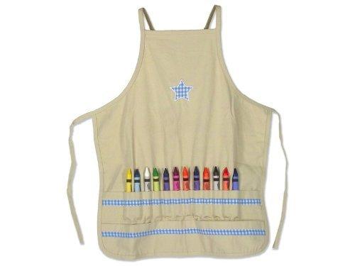 Child to Cherish Confetti Gift Box Crayon Apron with Crayola 16 Washable Crayons- Blue