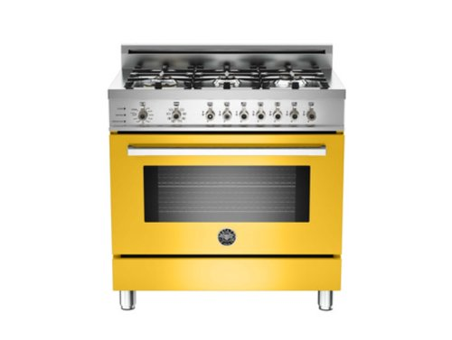 Pro366Dfsgi | Bertazzoni Professional 36 Dual Fuel Range, 6 Burners, Natural Gas - Giallo Yellow