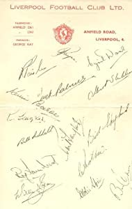Liverpool Players Signatures Facsimile Probably Of Season 1949-1950 by COLLECTSOCCER.COM