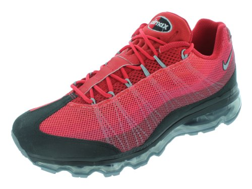 Mens Nike Air Max 95 Dynamic Flywire Running Shoes Black / Metallic Silver / Gym Red 554715-066 Size 9 front-408305