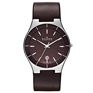 Skagen Herren-Armbanduhr XL Analog Quarz Leder SKW6038