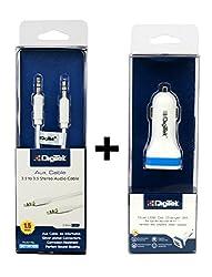 Digitek 009 Dual USB 2.1 A DMC Car Charger + Digitek AUX Cable 1.5m DC 1.5M AUX (Colors May Vary)