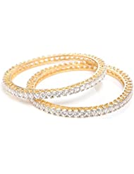 Shimmery Designer AD American Diamond Pair Of Bangles 2.6, 2.8, 2.10 By GoldNera For Girls/Women Indian