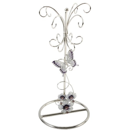 Juliana Glass Jewellery Holder Purple Butterfly/Flowers/Crystal
