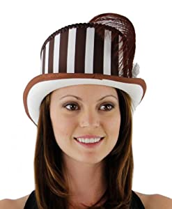 Sharp Steampunk Top Hat in Brown and Cream Stripe from Greatlookz