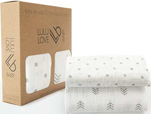 Lulu Love Baby Swaddle Blankets, 100% Organic Muslin, X-Large (47''X 47'') Multifunctional Receiving Blanket With Gender Neutral Design, Perfect For Boys or Girls & as a Baby Shower Gift, 2 Pack (Classic Pooh Crib Bedding compare prices)