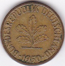 1950-F Germany Federal Republic 5 Pfennig Coin - 1