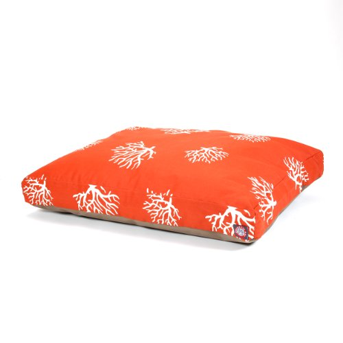Majestic Pet Orange Coral Rectangle Pet Bed, Medium
