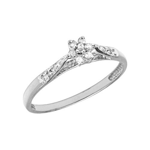 10K White Gold Diamond Cluster Ring (Size 10.5)
