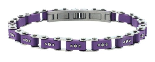 Unisex Designer Stainless Steel Purple Bicycle Link Bracelet 7