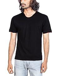 Zovi Men's Cotton Black Solid V-neck T-shirt (S143RNM00306)