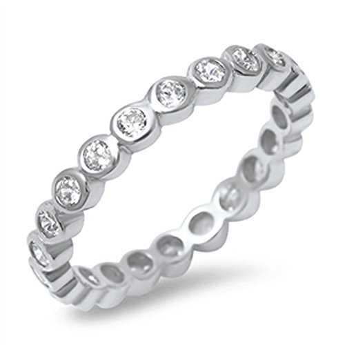 .925 Sterling Silver Cz Cubic Zirconia 3Mm Bezel Set Eternity Fanshion Band Ring For Women - Ring Size: 5