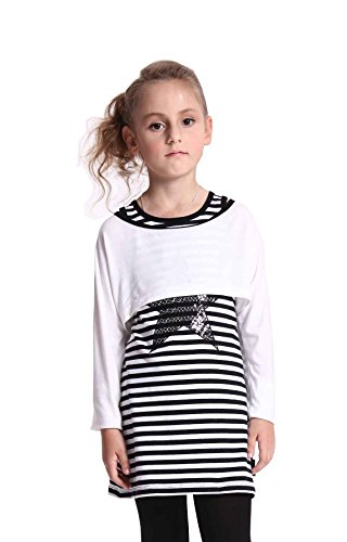 Tuzama Kids Girls Stripe Star Vest Dress And Crop Top Outfits 2Pcs