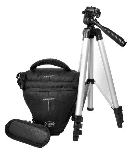 Aktions-Set - SLR Foto-Tasche Kameratasche Typ Colt Halfter mit kompaktem Reisestativ für Canon EOS 600D 70D 1200D 1100D Nikon D7100 D7000 D5300 D5200 D5100 D3300 D3200 D3100 D610 Sony Alpha 7 3000 A58 A57 A37 Nex 6000 5000 und viele andere (siehe Beschreibung)