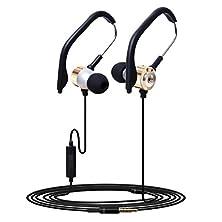 buy Shensee Unique 3.5Mm In Ear Clip On Sport W/ Mic Stereo Earphone Jogging Headphone (Golden)