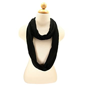 Elegant Solid Color Infinity Loop Jersey Scarf - Different Colors Available, Black