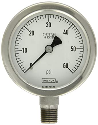 "NOSHOK 400 Series All Stainless Steel Dry Dial Indicating Pressure Gauge with Back Mount, 1-1/2"" Dial, +/-2.5% Accuracy, 0-160 psi Pressure Range"