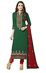 Khoobee Presents Embroidered Cotton Dress Material (Green,Red)