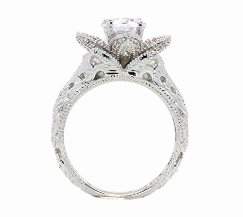 Hand Carved Vintage Inspired Blooming Rose Flower CZ Cubic Zirconia Engagement Ring Size 5