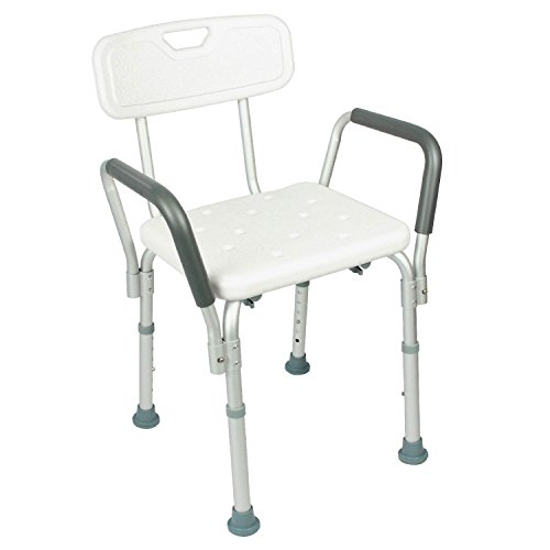 Shower Chair with Back by Vive - Best Bathtub Chair w/ Arms for Handicap, Disabled, Seniors & Elderly - Adjustable Medical Bath Seat Handles for Bariatrics - Non Slip Tub Safety - Lifetime Guarantee (Handicap Tub Seat compare prices)