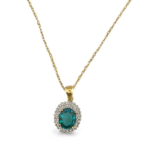 9ct Yellow Gold Cluster Pendant Set with Created Emeralds and 0.25ct of Diamonds on an 18