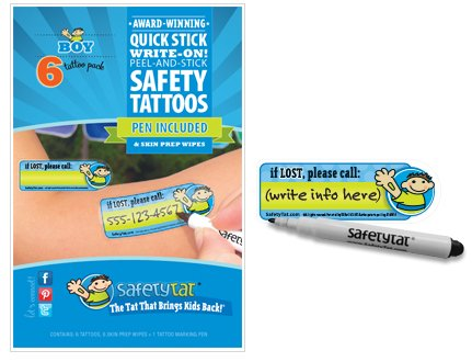 SafetyTat Child ID Tattoos (Boys 6pk) - 1